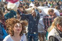 International Pillow Fight Day 2016 Stock Photo
