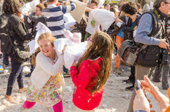 International Pillow Fight Day Stock Photos