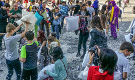 International Pillow Fight Day Bucharest 2017 Royalty Free Stock Photography