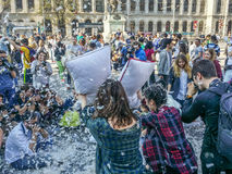 International Pillow Fight Day Bucharest 2017 Stock Photo