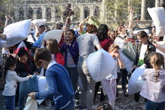 International Pillow Fight Day Bucharest 2017 Royalty Free Stock Images