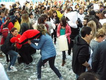 International pillow fight day bucharest 2016 Royalty Free Stock Photo