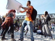 International pillow fight day bucharest 2016 Royalty Free Stock Image