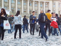 International pillow fight day bucharest 2016 Stock Photo