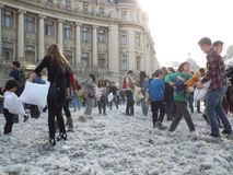 International pillow fight day bucharest 2016 Stock Photos