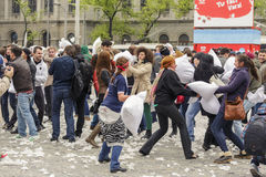 International pillow fight day royalty free stock photo