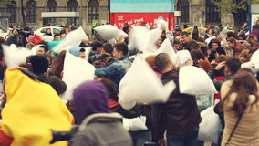 International pillow fight day stock video footage