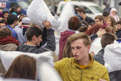 International pillow fight day Stock Photography