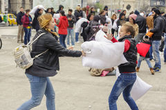International pillow fight day Royalty Free Stock Photos