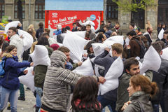 International pillow fight day Royalty Free Stock Images