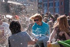 International Pillow Fight, Frankfurt. Royalty Free Stock Image