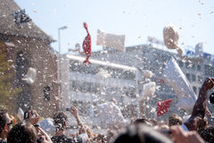International Pillow Fight, Frankfurt. Stock Photography