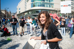 International Pillow Fight, Frankfurt. Stock Image