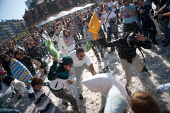 International Pillow Fight, Frankfurt. Stock Photos