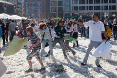 International Pillow Fight - Frankfurt, Germany Royalty Free Stock Photos
