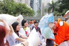 Hong Kong Intl Pillow Fight 2013 Royalty Free Stock Photos