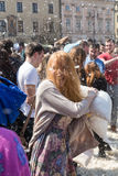 International pillow fight Stock Images