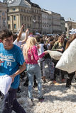 International pillow fight Royalty Free Stock Images