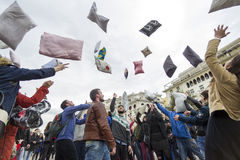 International pillow fight in Thessaloniki, Greece. royalty free stock image