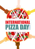 International pizza day. Hand hold pieces of pizza. Vector illustration Royalty Free Stock Images