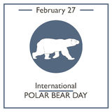 International Polar Bear Day. February 27. Vector illustration for you design, card, banner, poster and calendar Royalty Free Stock Photography