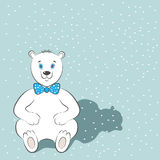 International Polar Bear Day poster. Cute animal with blue bow tie. Snow is in the background. Simple cartoon style. Vector illust. Ration. Usable for design of Royalty Free Stock Photos