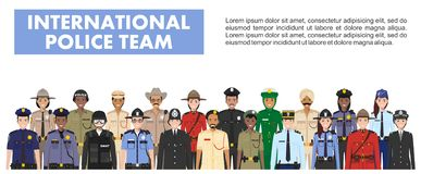 International police people concept. Detailed illustration of SWAT officer, policeman, policewoman and sheriff in flat Stock Photography