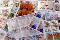 International Postage Stamps. Postmarked International Postage Stamps stock images