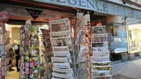 International press about Donald Trump election as President in USA. PARIS, FRANCE - NOV 10, 2016: Press kiosk international magazines with shocking headline stock footage