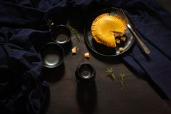 International puff and pie, Chicken pie, round and golden baked pie. This is the world most famous meal stock image