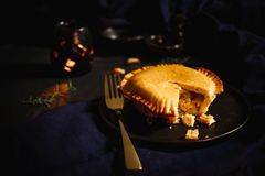 International puff and pie, Chicken pie, round and golden baked pie. This is the world most famous meal Royalty Free Stock Photo