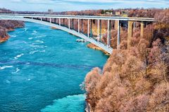 International Rainbow Bridge above Niagara River Gorge USA. International Rainbow Bridge above Niagara River Gorge from American side, near Niagara Falls. It is Stock Photo