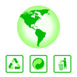 The international recycling symbols and the map of the Western hemisphere in green. Stock Photos