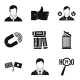 International relation icons set, simple style. International relation icons set. Simple set of 9 international relation vector icons for web isolated on white Royalty Free Stock Photos