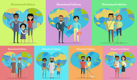 International Relations Banners Set Stock Photography