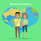 International Relations Flat Design Vector Concept Stock Images