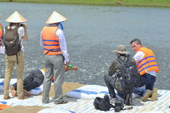 International reporters and journalists are visiting a pangasius catfish farm in the mekong delta of Vietnam Royalty Free Stock Images