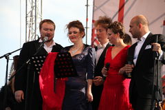 International Russian Italian Opera quintet on the open stage of festival Opera of Kronstadt. five singers of world Opera stars. Stock Photos
