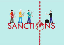 International Sanctions Concept for economic, sports and political reasons. Editable Clip Art. Stock Image
