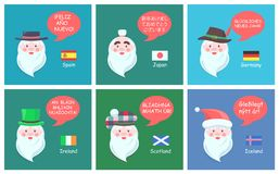 International Santa Clauses Greet with New Year. International Santa Clauses in ethnic headdresses greet with New Year in foreign languages festive posters Stock Image
