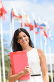 International scholarship female student. Female international student scholarship in college campus. International and languages education concept royalty free stock photos