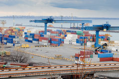 International sea port with containers Royalty Free Stock Images