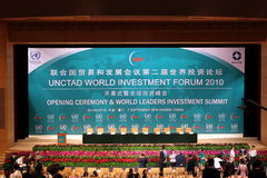 International seminar of united nations. The 2ed world investment forum held in Xiamen International Conference and Exhibition Center, photo taken in Sep. 2010 stock photography