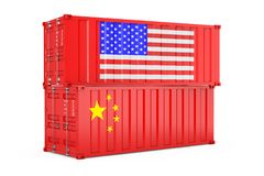 International Shipping Concept. Cargo Shipping Containers with USA and China Flag. 3d Rendering. International Shipping Concept. Cargo Shipping Containers with vector illustration