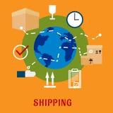 International shipping service flat icons Royalty Free Stock Image