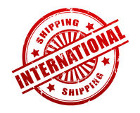 International shipping stamp concept illustration. International shipping stamp 3d illustration isolated on white background Royalty Free Stock Photo