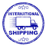 International Shipping Stamp Indicates Across The Globe And Countries Stock Photo