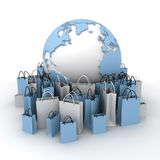 International shopping, blue and white Royalty Free Stock Images