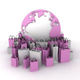International shopping, pink and white Royalty Free Stock Image