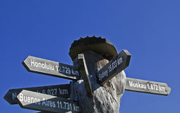 International signpost. International guide for globetrotters in front of blue sky Royalty Free Stock Images